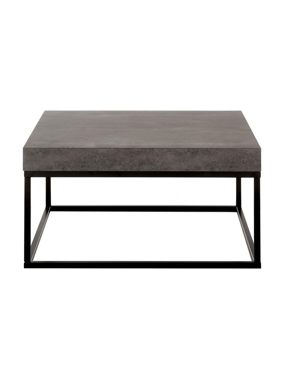 Salontafel Ellis in betonlook, Tafelblad: lichtgewicht honingraatst, Frame: gelakt metaal, Zwart, betonkleurig, 75 x 38 cm