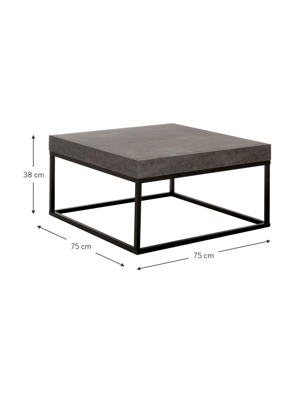 Couchtisch Ellis in Betonoptik, Tischplatte: Leichtbau-Wabenstruktur, , Gestell: Metall, lackiert, Betonoptik, 75 x 38 cm