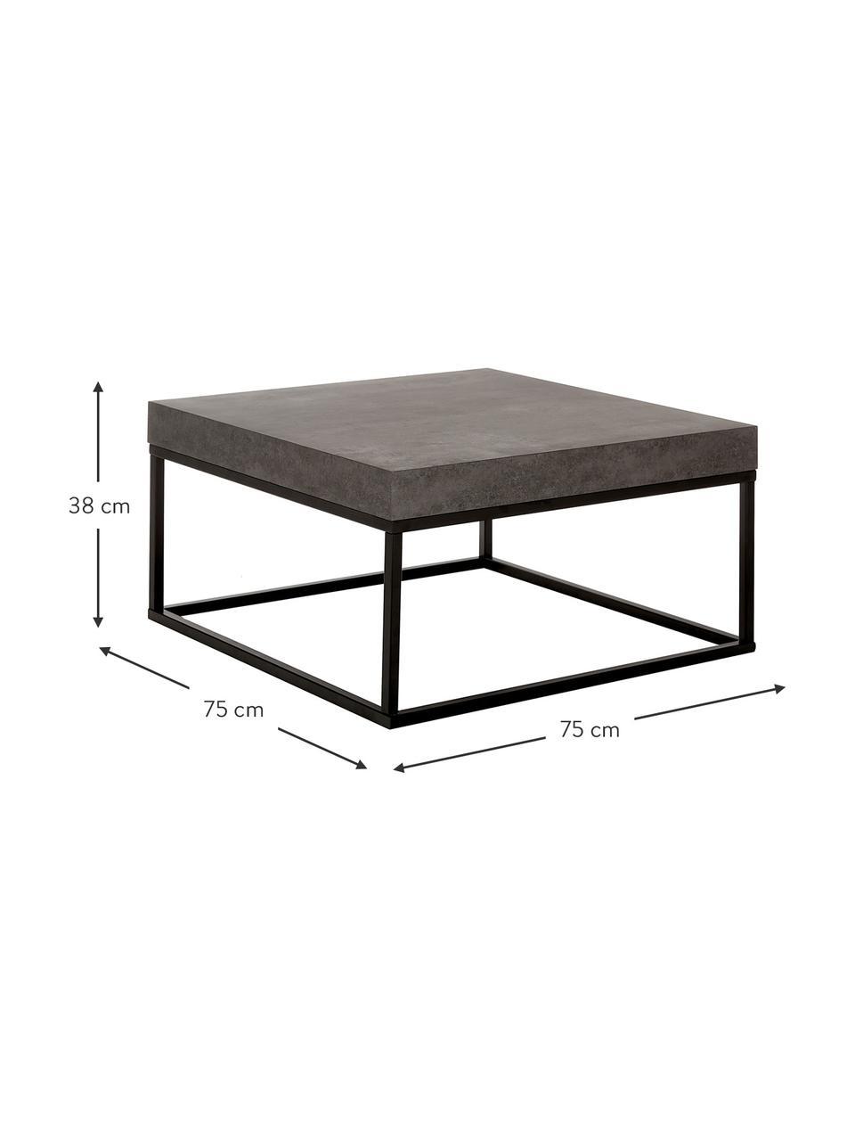 Tavolino da salotto effetto cemento Ellis, Piano d'appoggio: struttura a nido d'ape le, Struttura: metallo verniciato, Aspetto concreto, Larg. 75 x Alt. 38 cm