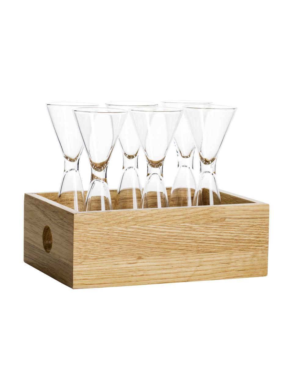 Kieliszki ze szkła dmuchanego z drewnianym pudełkiem Semon, 6 szt., Szkło dmuchane, drewno dębowe, Transparentny, drewno dębowe, Ø 4 x W 12 cm