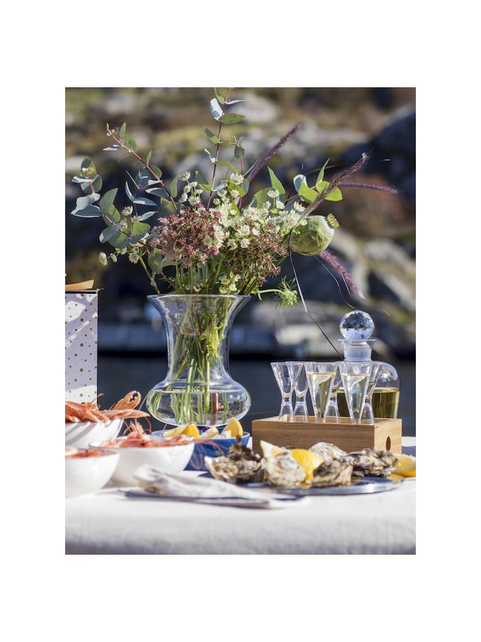 Mundgeblasene Schnapsgläser Semon mit Holzbox, 6 Stück, Mundgeblasenes Glas, Eichenholz, Transparent, Eichenholz, Ø 4 x H 12 cm