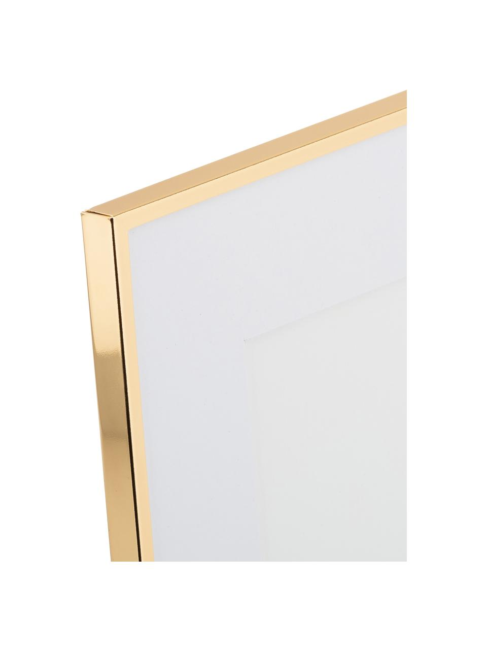 Bilderrahmen Memento, Rahmen: Eisen, hochglanz lackiert, Front: Glas, spiegelnd, Goldfarben, 21 x 26 cm