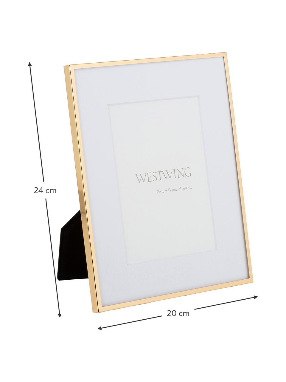 Fotolijstje Memento, Lijst: hoogglans gelakt ijzer, Goudkleurig, 21 x 26 cm