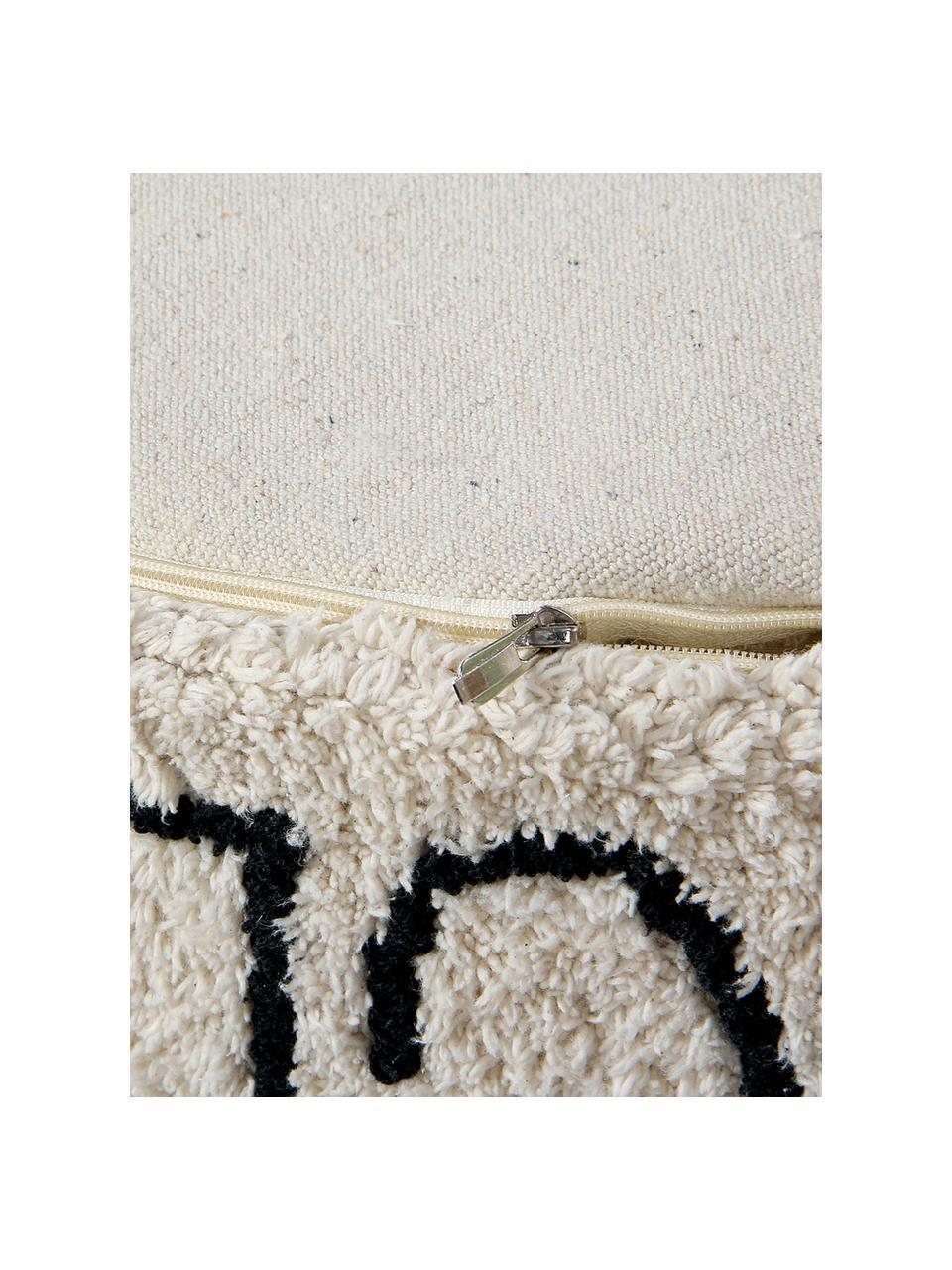 Cuscino da pavimento rotondo ABC, Rivestimento: 97% cotone, 3% cotone ric, Marrone chiaro, nero, Ø 70 x Alt. 20 cm