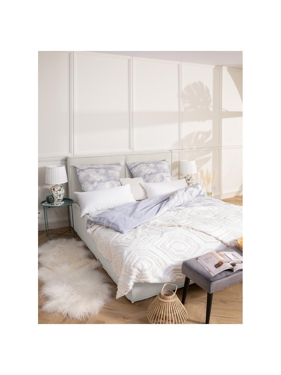 Łóżko tapicerowane Dream, Korpus: lite drewno sosnowe, pane, Tapicerka: poliester (tkanina strukt, Kremowobiały, S 180 x D 200 cm