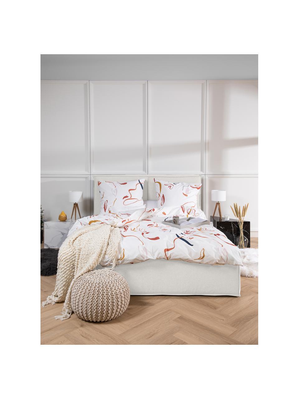 Gestoffeerd bed Dream in crèmewit, Frame: massief grenenhout en pla, Bekleding: 100% polyester (gestructu, Geweven stof crèmewit, 180 x 200 cm