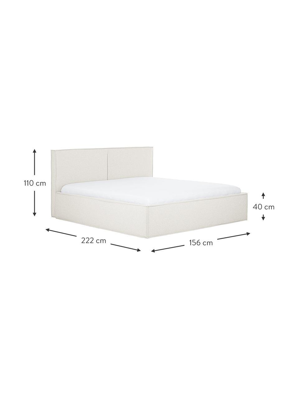 Gestoffeerd bed Dream in crèmewit, Frame: massief grenenhout en pla, Bekleding: polyester (gestructureerd, Geweven stof crèmewit, 180 x 200 cm