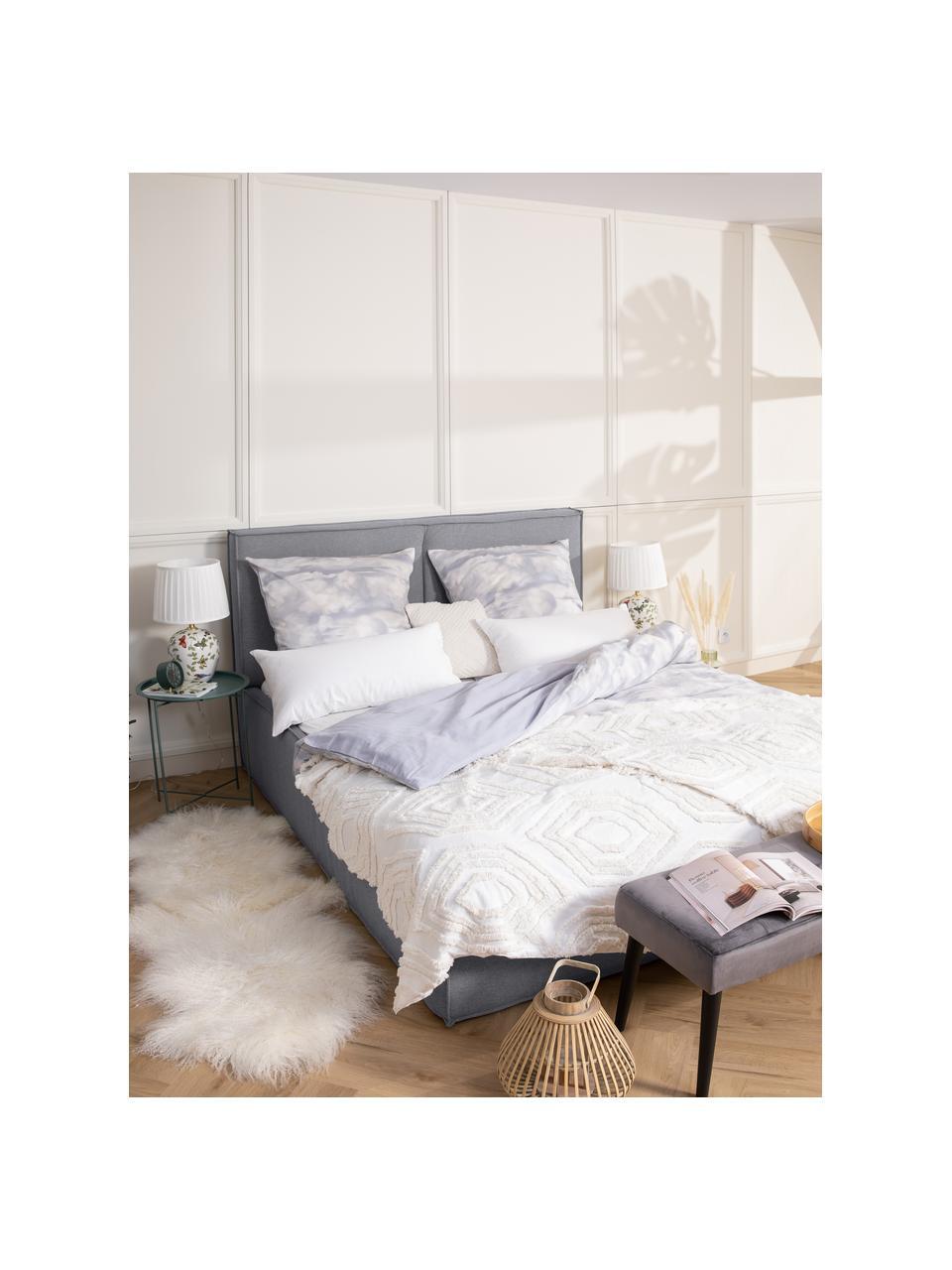 Gestoffeerd bed Dream in donkergrijs, Frame: massief grenenhout en pla, Bekleding: polyester (gestructureerd, Geweven stof donkergrijs, 180 x 200 cm