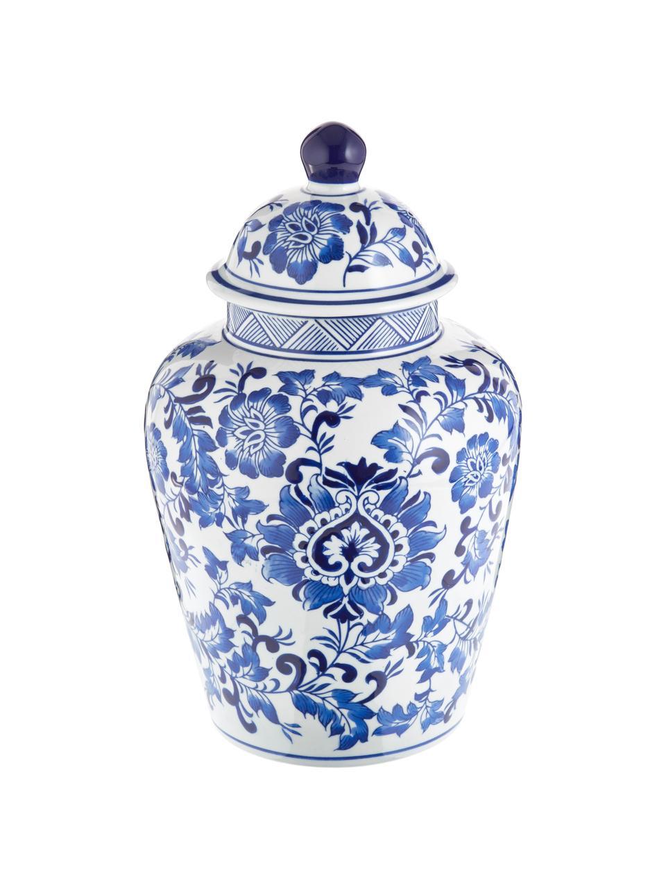 Grote vaas met deksel Annabelle van porselein, Porselein, Blauw, wit, Ø 20 cm