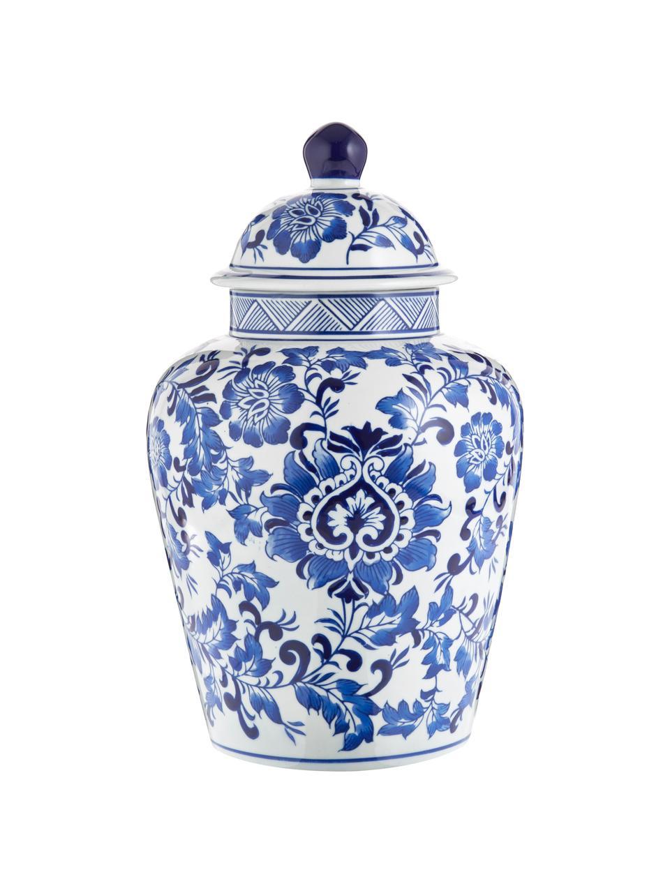 Vaso in porcellana con coperchio Annabelle, Porcellana, Blu, bianco, Ø 20 x Alt. 35 cm