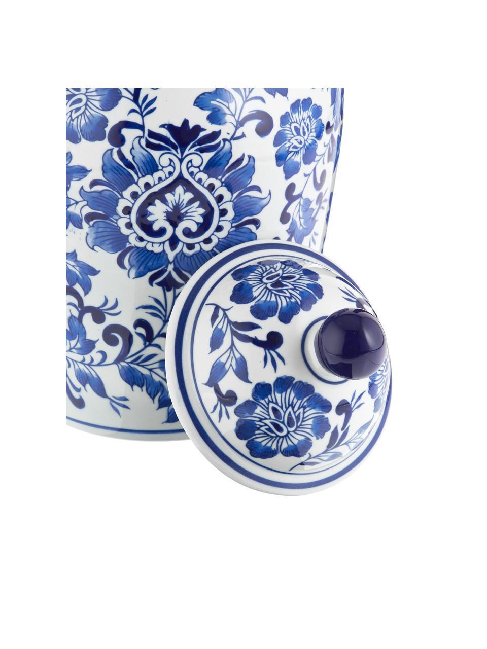 Velká porcelánová váza svíčkem Annabelle, Modrá, bílá
