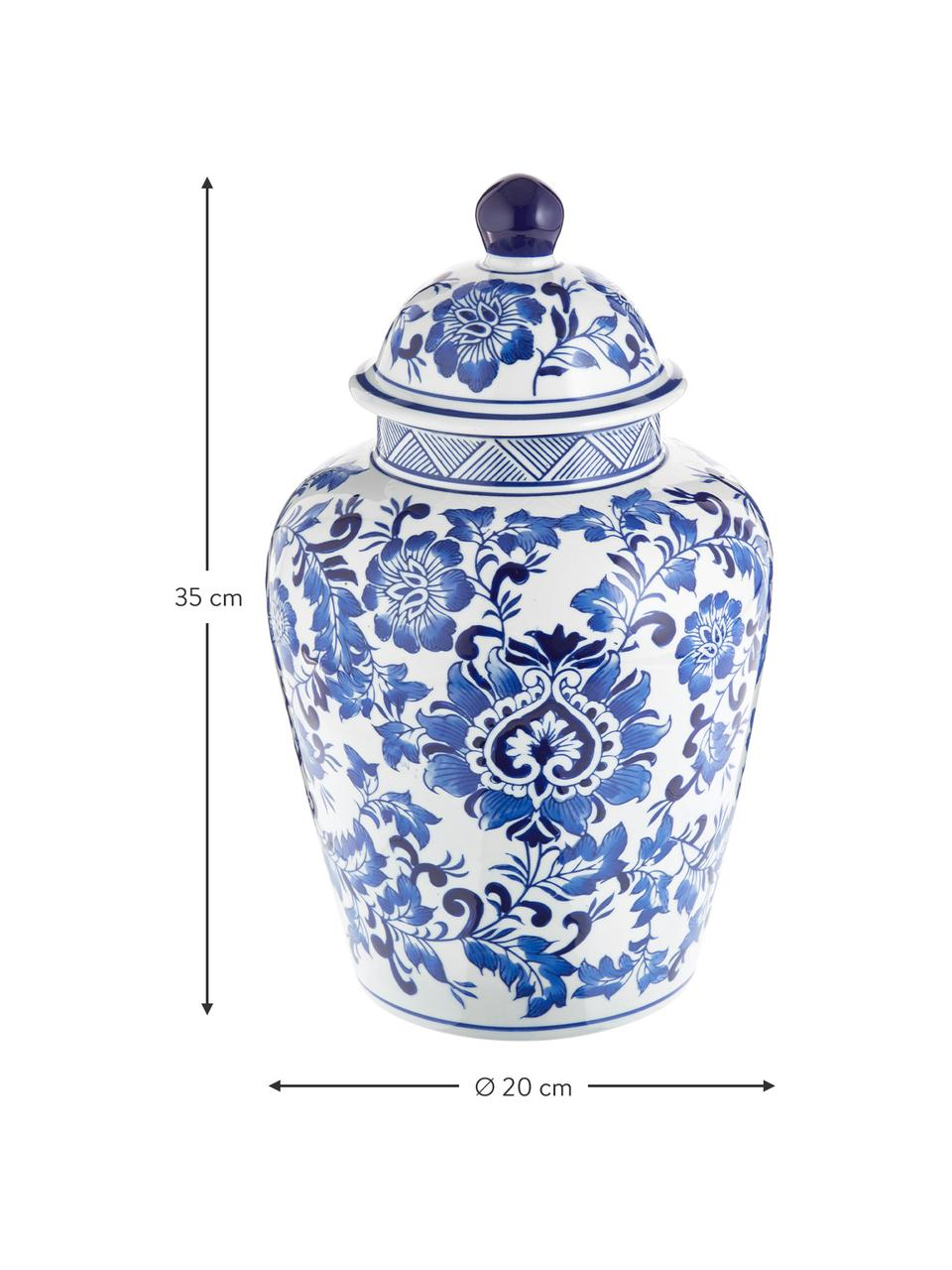 Grand vase en porcelaine avec couvercle Annabelle, Bleu, blanc