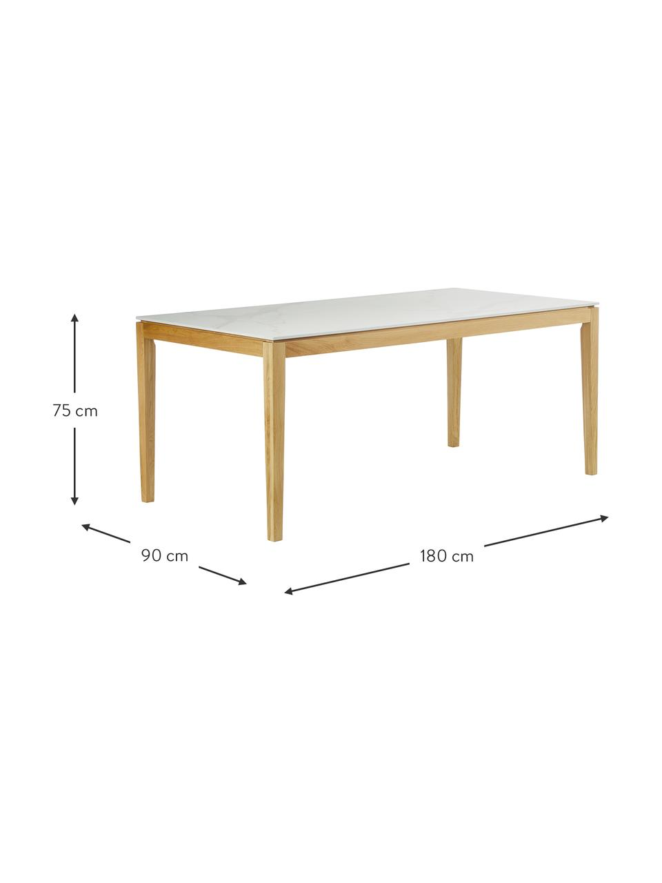 Tavolo con effetto marmo Jackson, Bianco, Larg. 180 x Prof. 90 cm