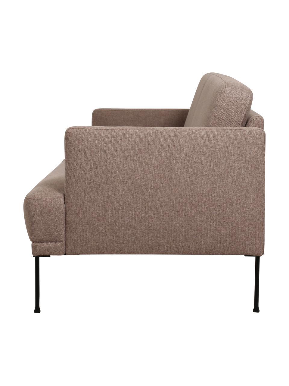 Sofa Fluente (3-Sitzer) in Braun mit Metall-Füßen, Bezug: 100% Polyester 115.000 Sc, Gestell: Massives Kiefernholz, Füße: Metall, pulverbeschichtet, Webstoff Braun, B 196 x T 85 cm