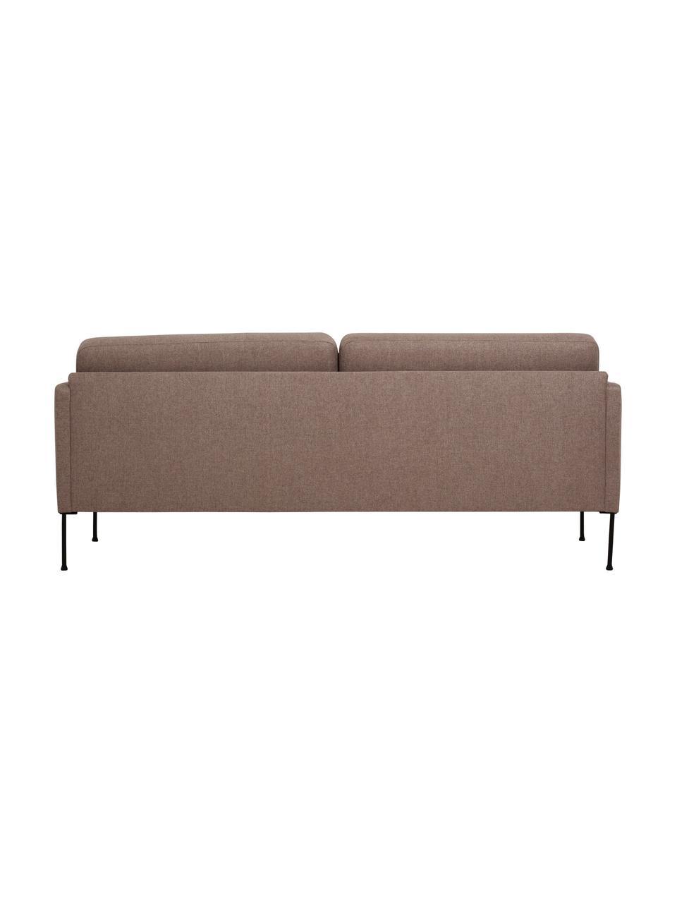 Canapé 3 places brun avec pieds en métal Fluente, Tissu brun