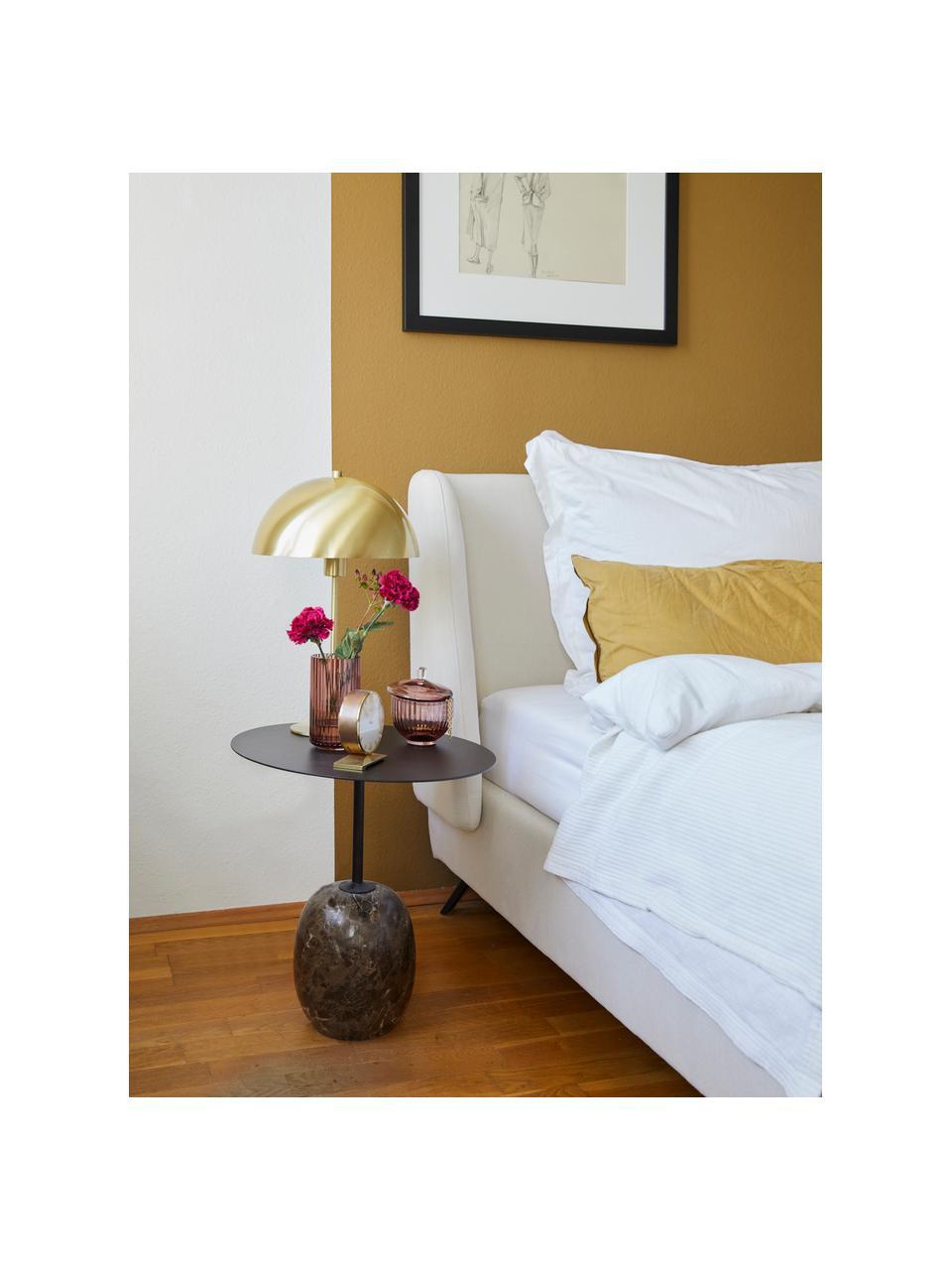 Gestoffeerd bed Madonna met hoofdeinde in beige, Frame: massief grenenhout, Poten: gepoedercoat metaal, Bekleding: polyester (gestructureerd, Geweven stof beige, 180 x 200 cm