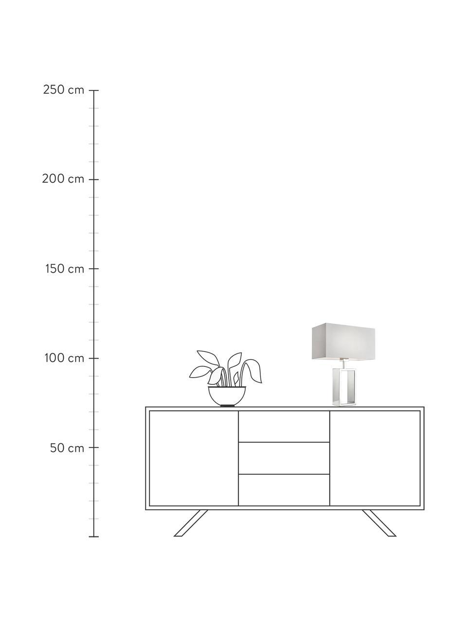 Lampada da tavolo con base in cromo Shanghai, Base della lampada: acciaio inossidabile crom, Cromo, bianco, Larg. 35 x Alt. 47 cm
