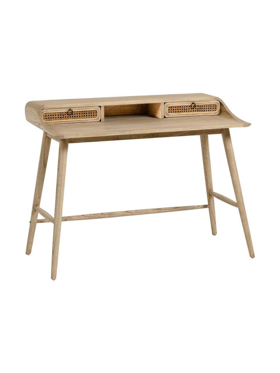 Schreibtisch Nalu aus Holz mit Wiener Geflecht, Griffe: Metall, lackiert, Mindiholz, B 110 x T 60 cm
