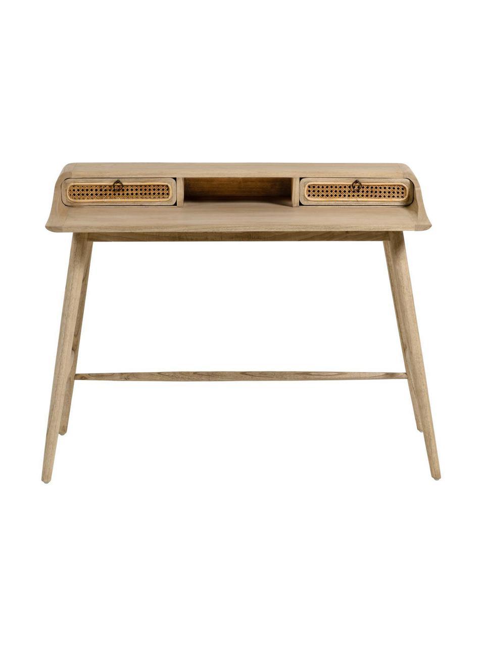 Bureau Nalu van hout met Weens vlechtwerk, Handvatten: gelakt metaal, Mindihoutkleurig, B 110  x D 60 cm