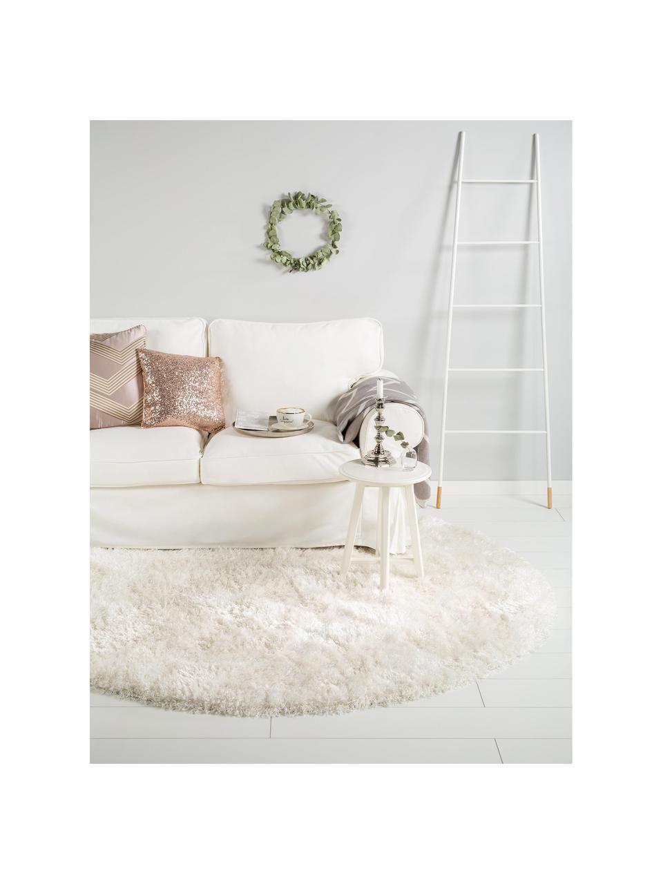 Okrągły dywan z wysokim stosem i połyskiem Lea, Biały, Ø 200 cm (Rozmiar L)