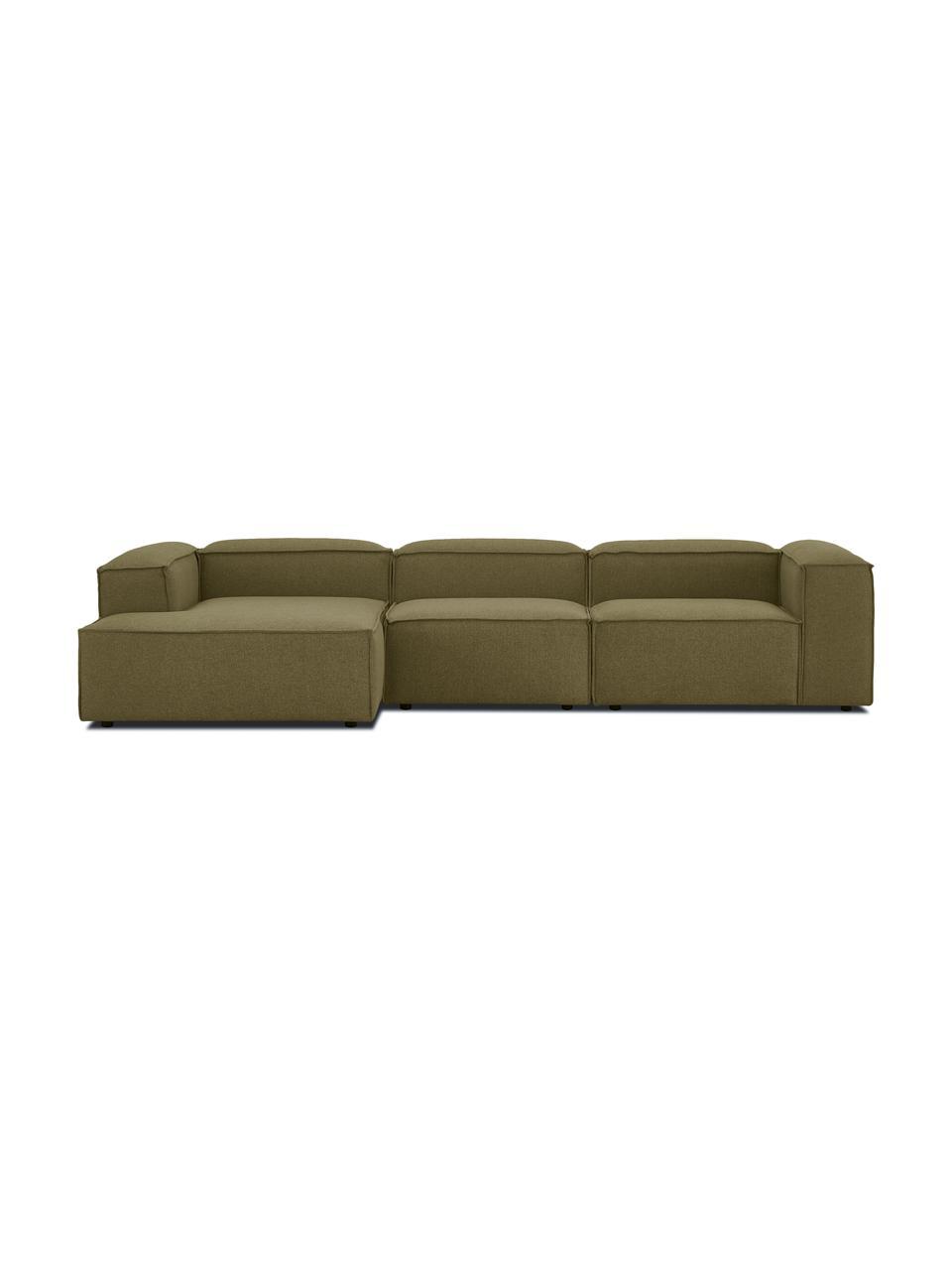 Narożna sofa modułowa Lennon, Tapicerka: 100% poliester Dzięki tka, Stelaż: lite drewno sosnowe, skle, Nogi: tworzywo sztuczne Nogi zn, Zielony, S 327 x G 180 cm
