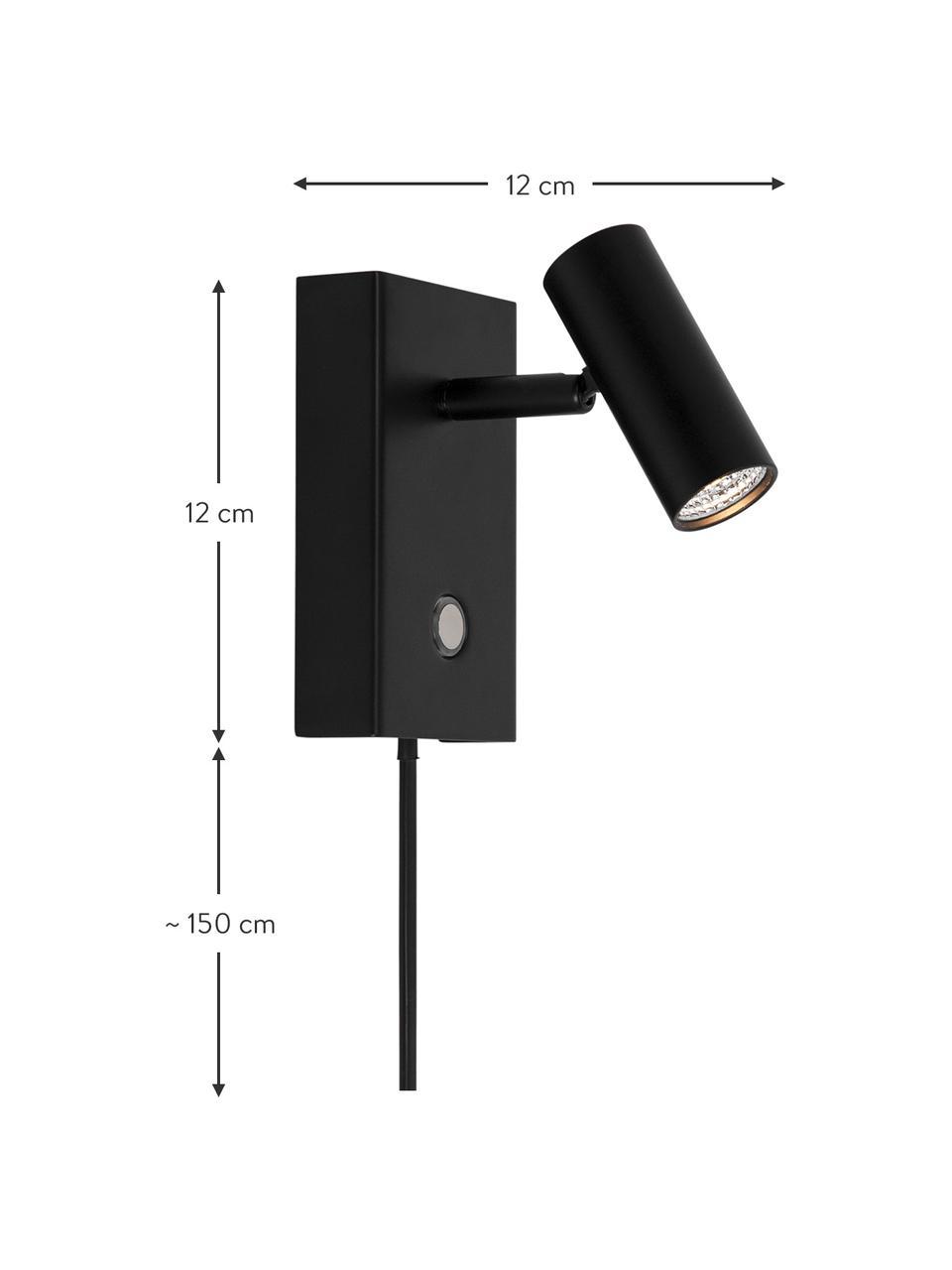 Dimmbare LED-Wandleuchte Omari mit Stecker in Schwarz, Lampenschirm: Metall, beschichtet, Schwarz, 7 x 12 cm