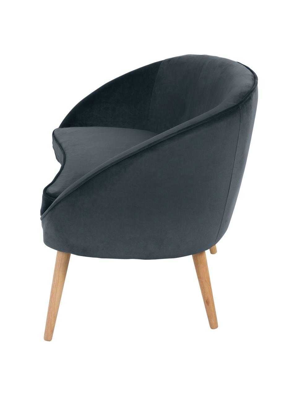 Samt-Sofa Safir (2-Sitzer) in Dunkelgrau mit Holz-Füßen, Bezug: Polyestersamt 50.000 Sche, Beine: Walnussbaumholz, gebeizt, Samt Dunkelgrau, B 136 x T 66 cm