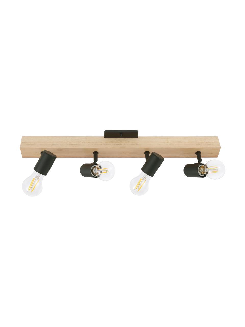 Faretti da soffitto in legno Townshend, Baldacchino: legno, Nero, legno, Larg. 63 x Alt. 13 cm