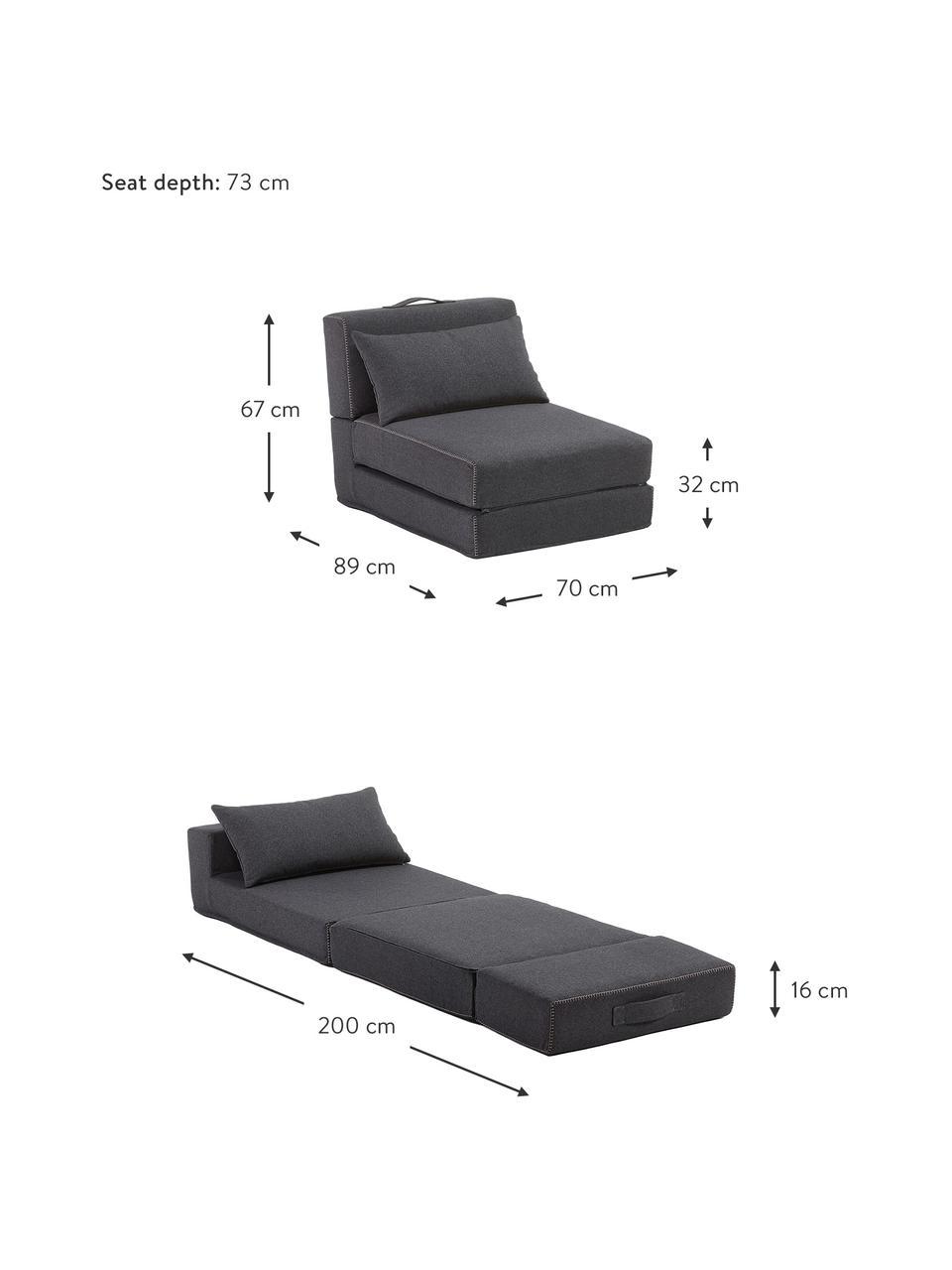 Fotel z funkcją spania Arty, Tapicerka: poliester Dzięki tkaninie, Grafitowoszary, S 70 x D 67 cm