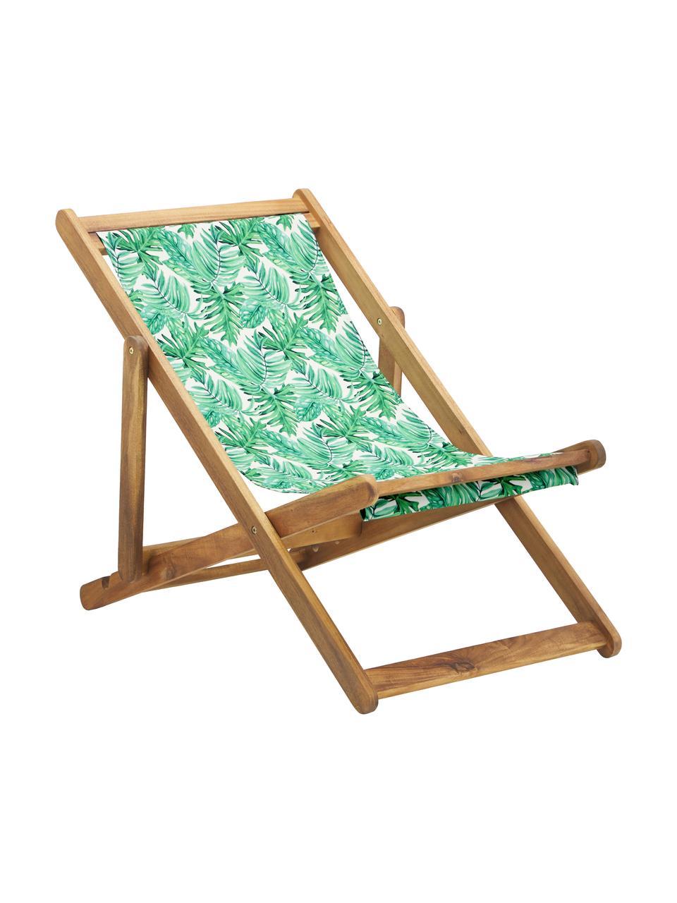 Składany leżak Zoe, Stelaż: lite drewno akacjowe, ole, Zielony, biały, S 59 x G 84 cm