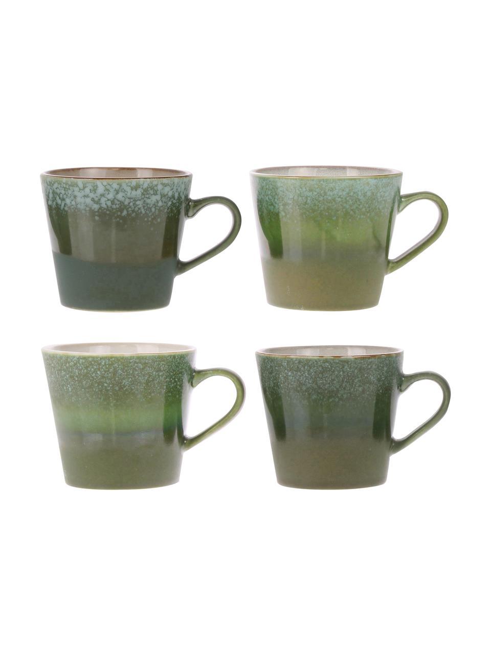 Handgemachte Tassen 70's im Retro Style, 4 Stück, Steingut, Grüntöne, Ø 10 x H 12 cm