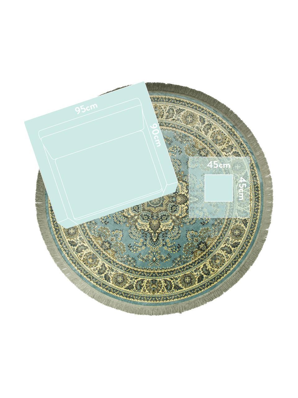 Okrągły dywan w stylu vintage z frędzlami Bodega, Odcienie zielonego, Ø 175 cm (Rozmiar L)
