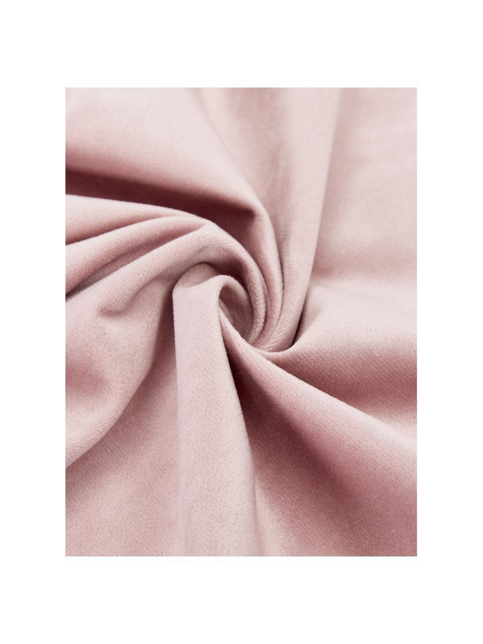 Poszewka na poduszkę z aksamitu Lucie, 100% aksamit (poliester) Należy pamiętać, że aksamit może wydawać się jaśniejszy lub ciemniejszy w zależności od kata padania światła, Brudny różowy, S 45 x D 45 cm