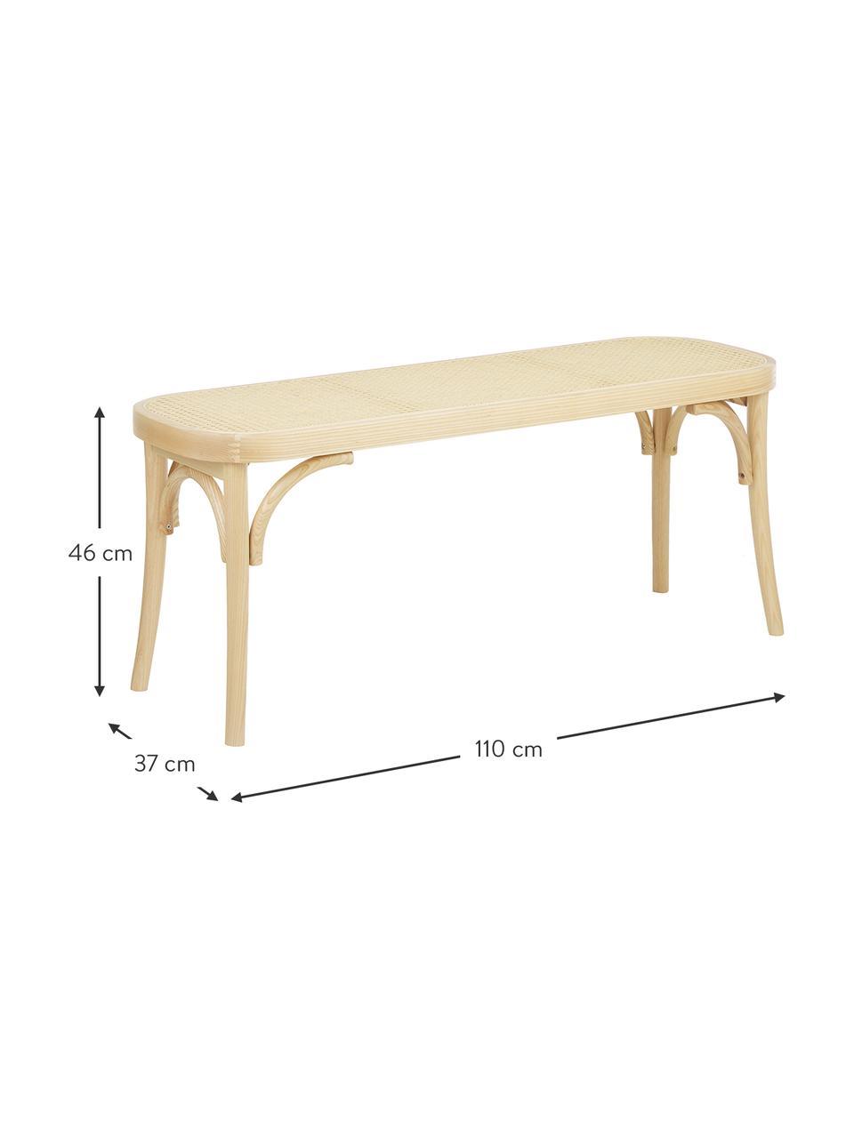 Sitzbank Franz mit Wiener Geflecht, Sitzfläche: Rattan, Gestell: Buchenholz, massiv, Helles Holz, 110 x 47 cm