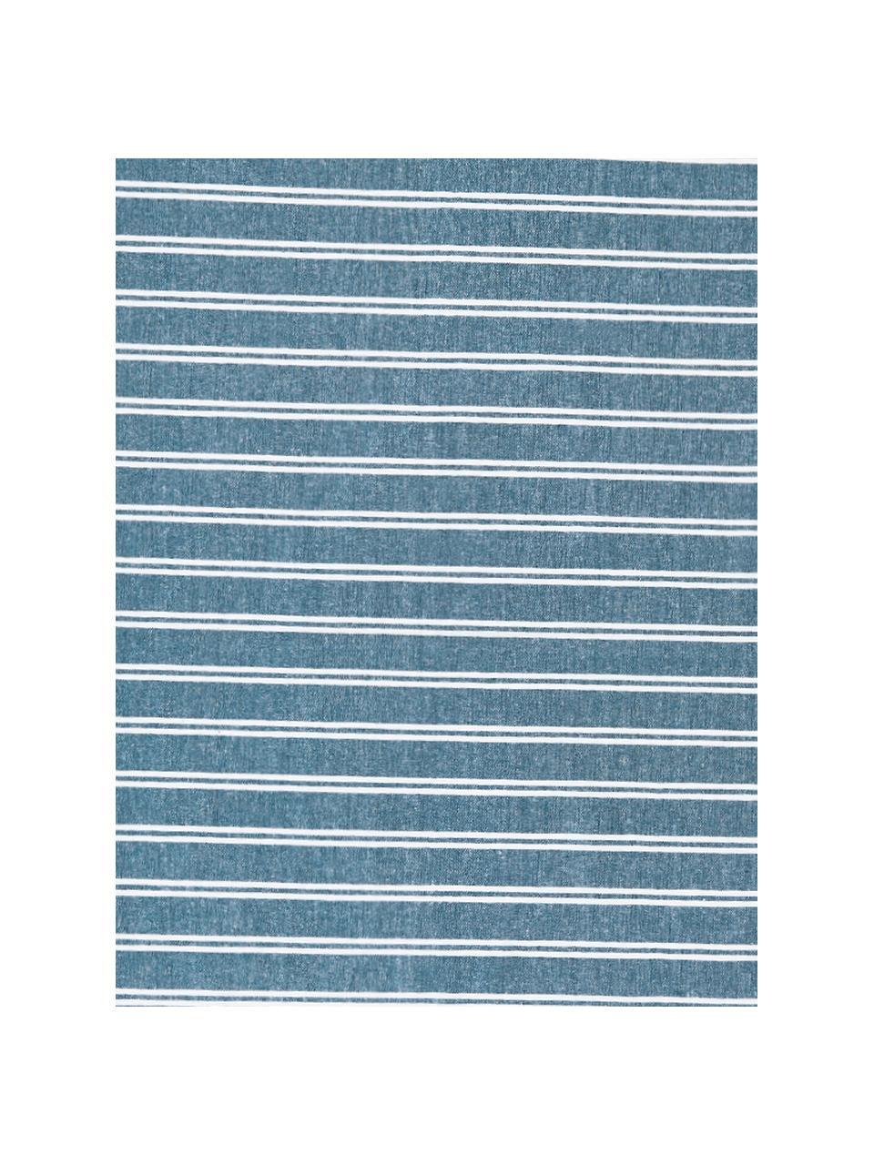 Gestreiftes Hamamtuch Surfside mit Fransenabschluss, 100% Baumwolle, Petrol, 90 x 170 cm