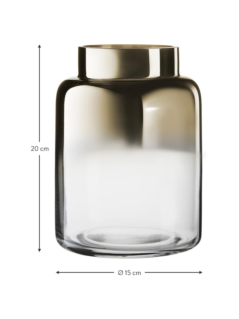 Mundgeblasene Glasvase Uma, Glas, Transparent,Gold, Ø 15 x H 20 cm