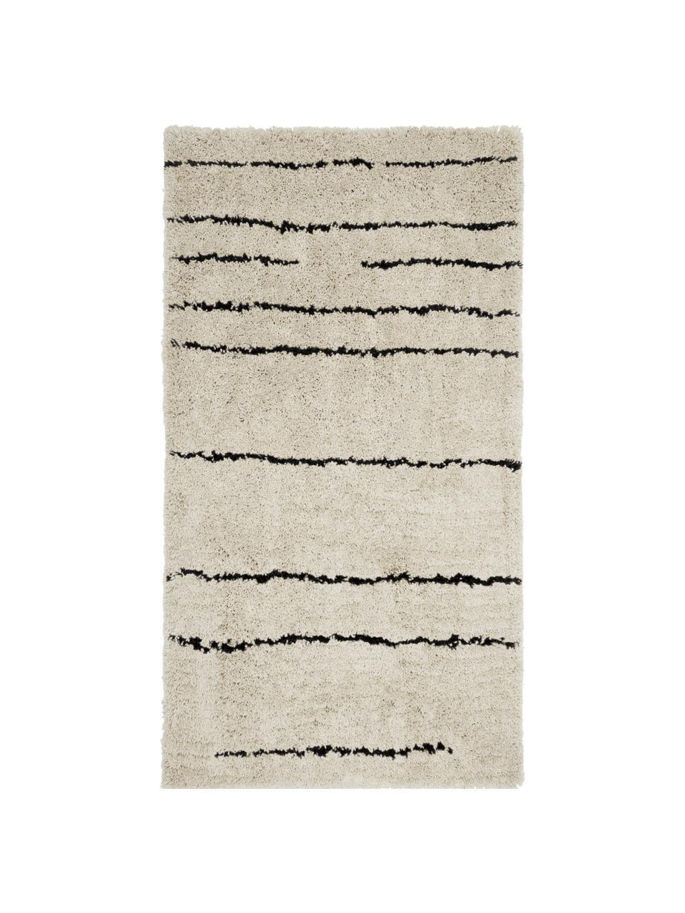 Ručně všívaný načechraný koberec s vysokým vlasem Dunya, Béžová, černá