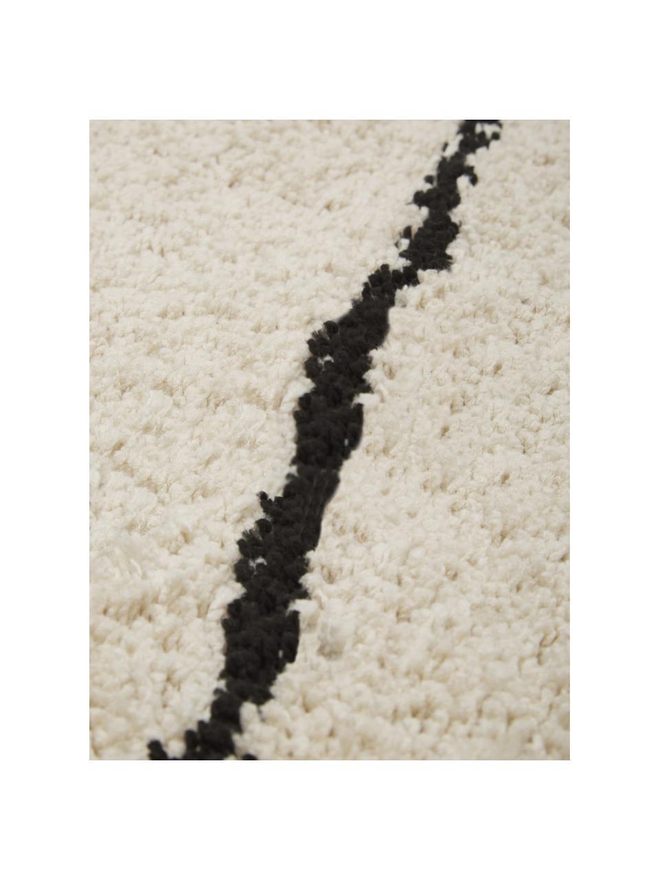 Ręcznie tuftowany puszysty dywan Dunya, Beżowy, czarny, S 200 x D 300 cm (Rozmiar L)