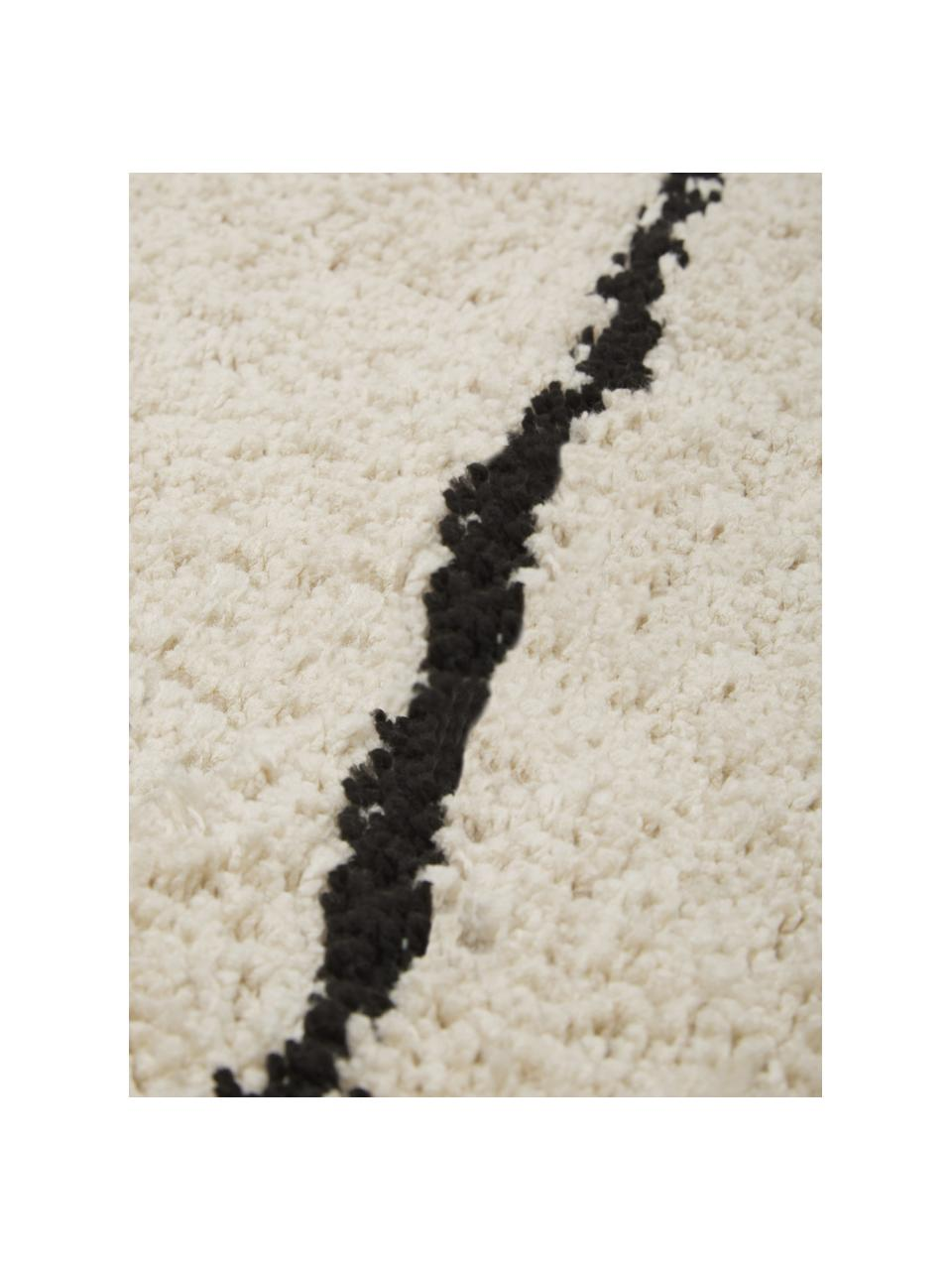 Zacht hoogpolig vloerkleed Dunya, handgetuft, Bovenzijde: 100% polyester, Onderzijde: 100% katoen, Beige, zwart, B 200 x L 300 cm (maat L)