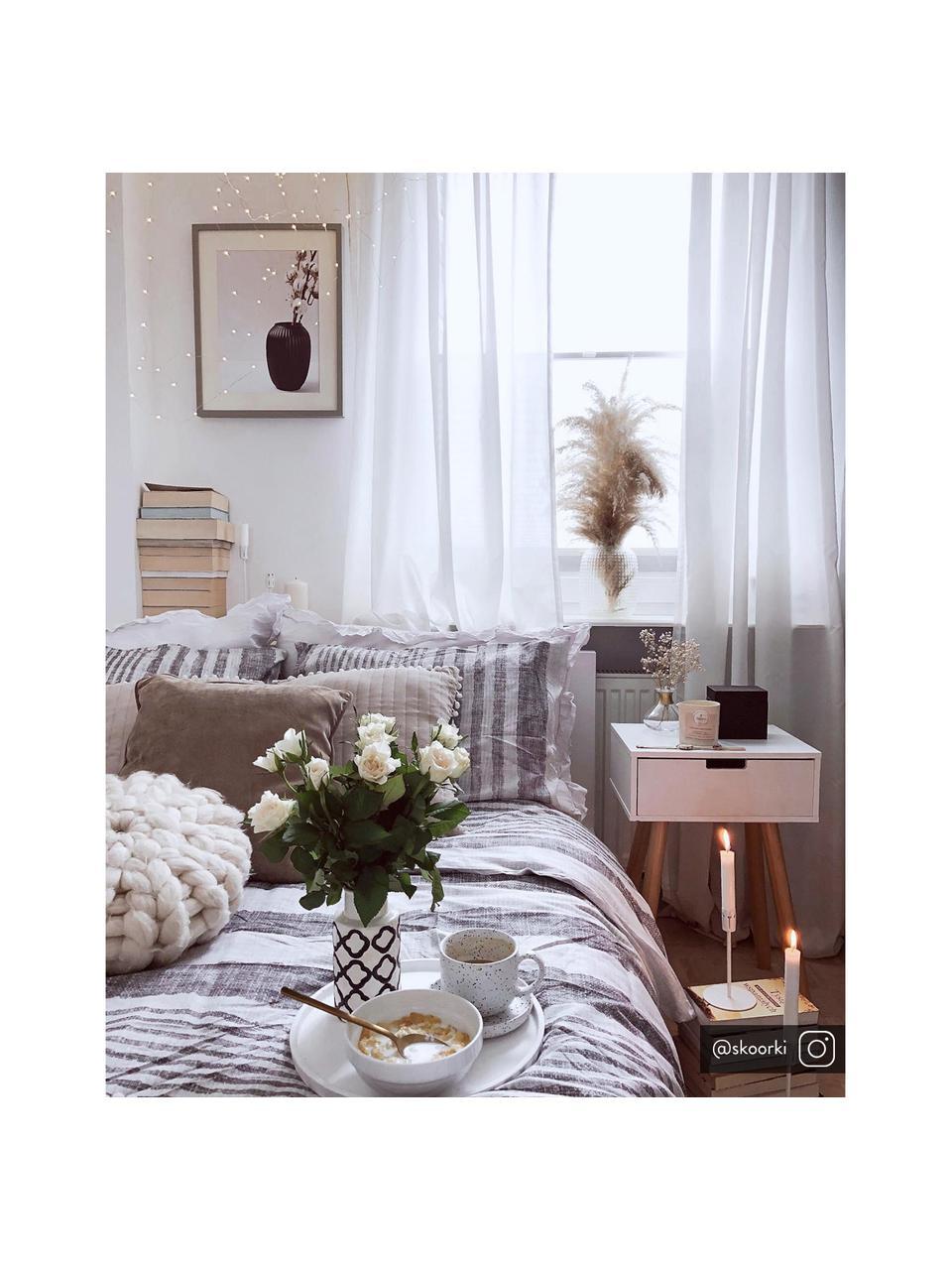 Nachttisch Mitra mit Schublade, Beine: Eichenholz, Weiß, 40 x 62 cm