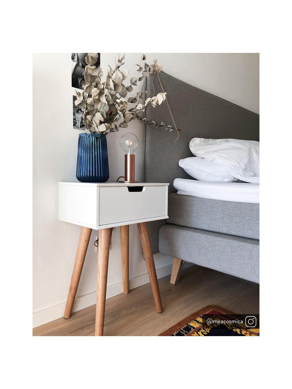 Comodino con cassetto Mitra, Gambe: legno di quercia, Bianco, Larg. 40 x Alt. 62 cm