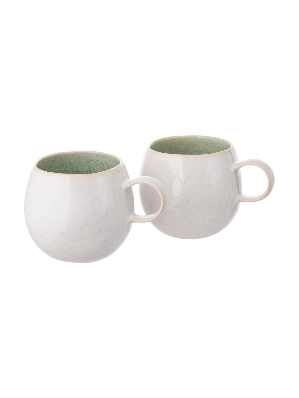 Ręcznie malowana filiżanka do herbaty Areia, 2 szt., Kamionka, Miętowy, złamana biel, beżowy, Ø 9 x W 10 cm