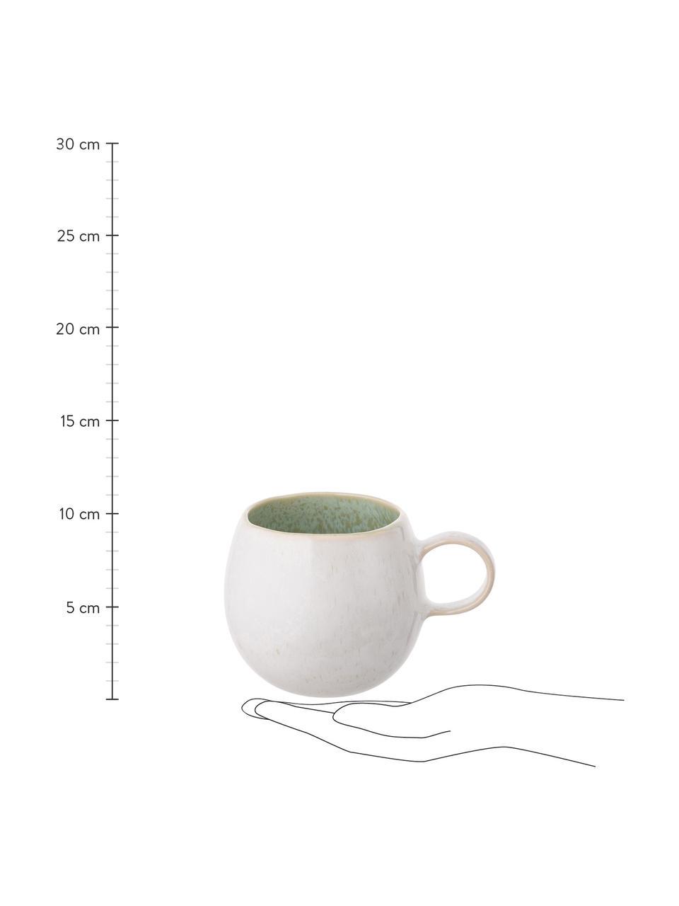 Handbemalte Teetassen Areia mit reaktiver Glasur, 2 Stück, Steingut, Mint, Gebrochenes Weiß, Beige, Ø 9 x H 10 cm