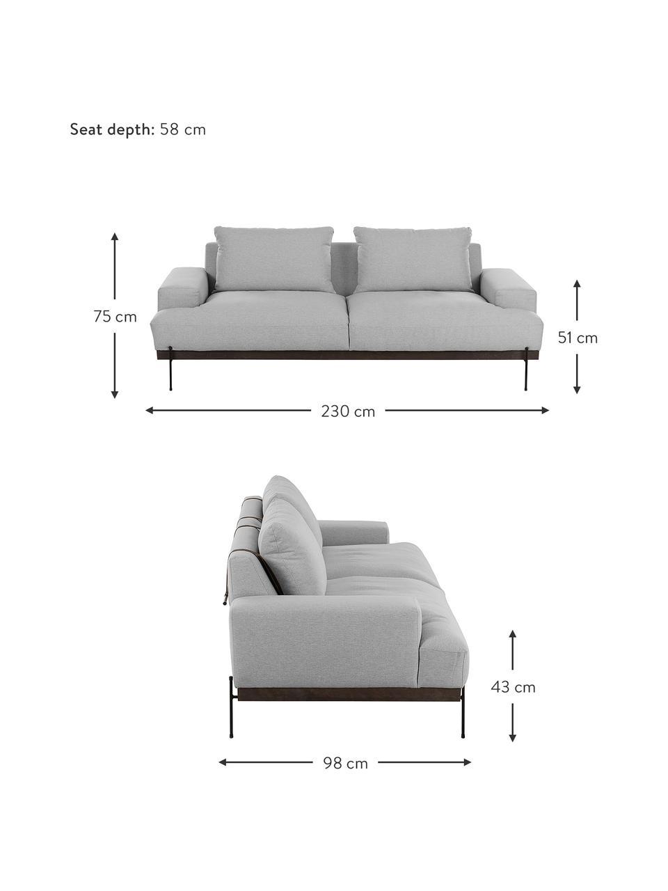Sofa Brooks (3-Sitzer) in Grau mit Metall-Füßen, Bezug: Polyester Der Bezug ist n, Gestell: Kiefernholz, massiv, Rahmen: Kiefernholz, lackiert, Füße: Metall, pulverbeschichtet, Webstoff Grau, 230 x 75 cm