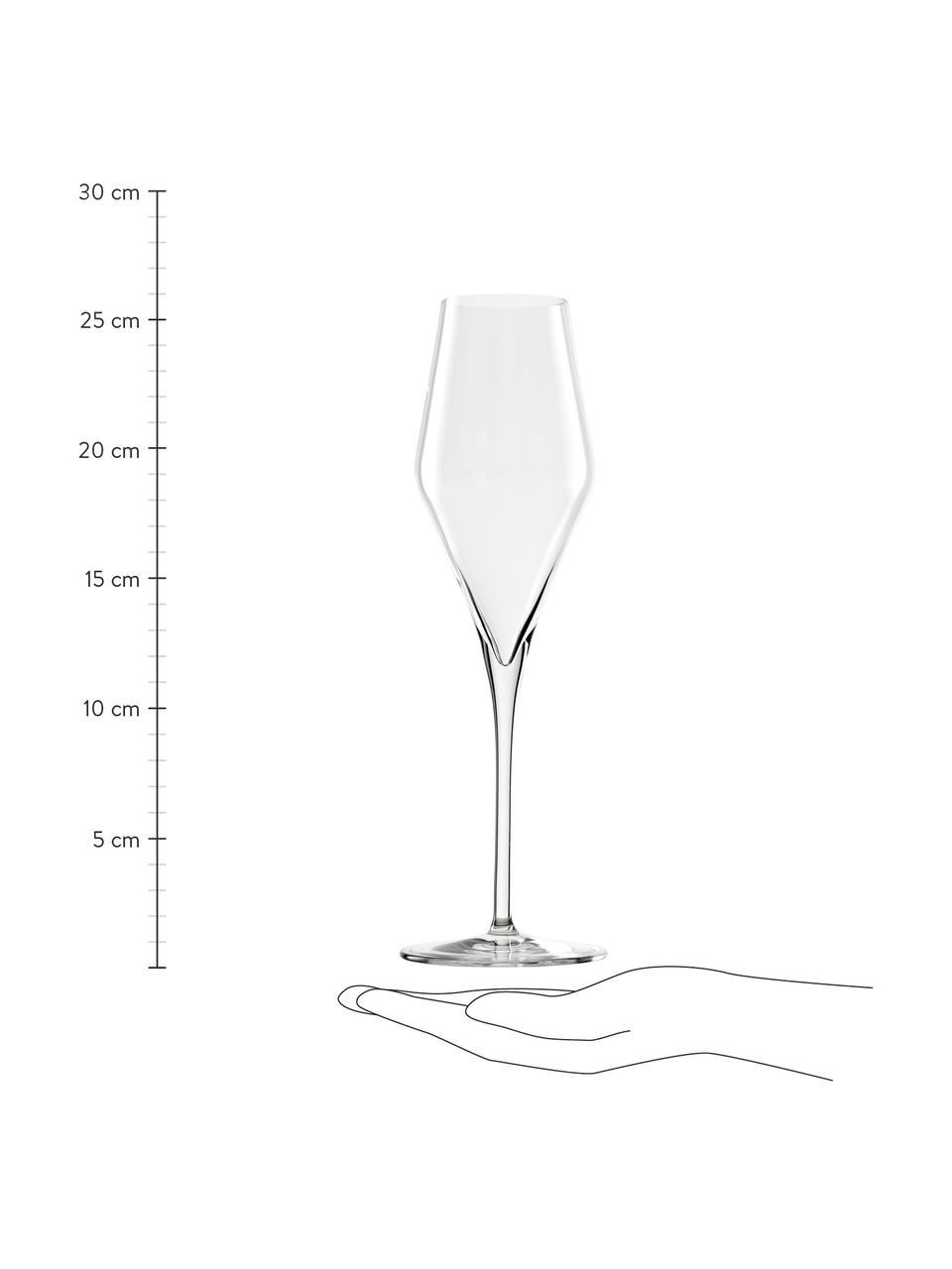 Kryształowy kieliszek do szampana Quatrophil, 6 szt., Szkło kryształowe, Transparentny, Ø 8 x W 26 cm