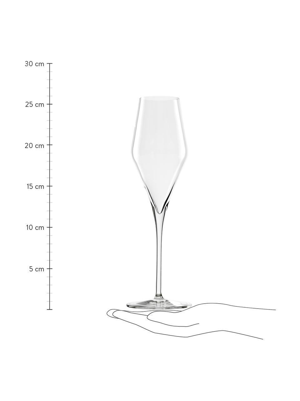 Kristall-Sektgläser Quatrophil, 6 Stück, Kristallglas, Transparent, Ø 8 x H 26 cm
