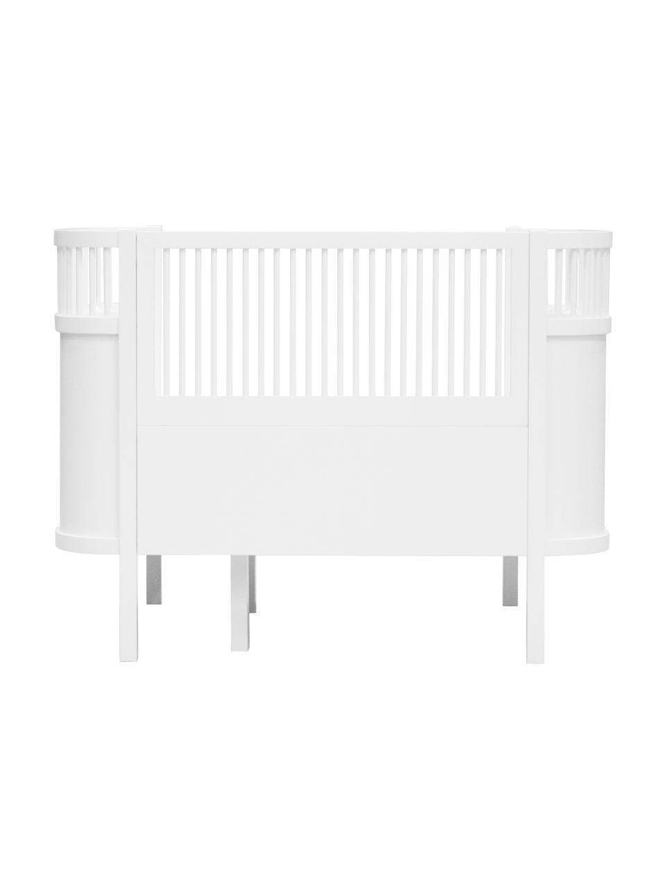 Baby-Bett Junior, Birkenholz, lackiert, Weiß, 115 x 88 cm