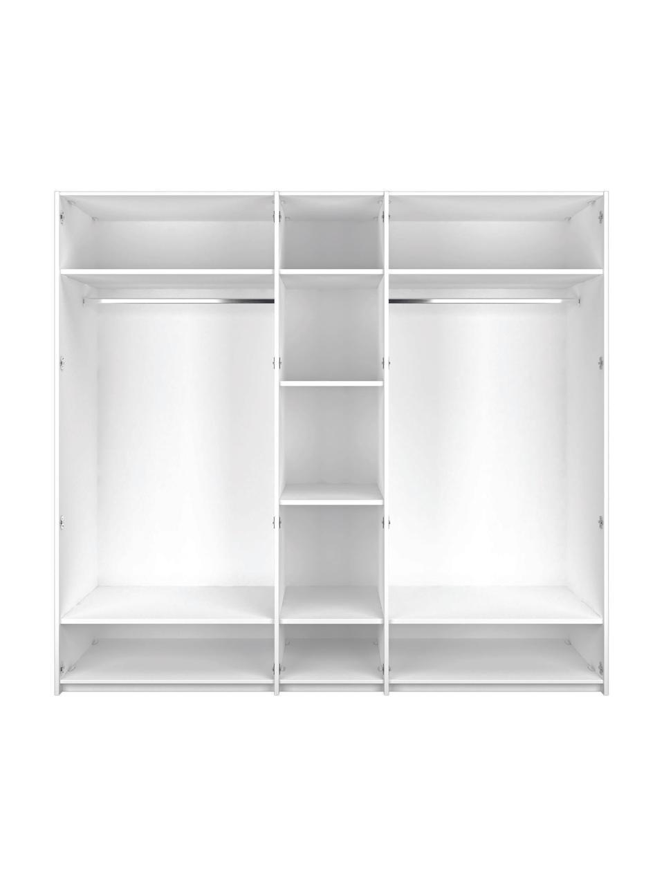 Kleiderschrank Madison mit Spiegeltür in Weiß, Korpus: Holzwerkstoffplatten, lac, Weiß, 252 x 230 cm