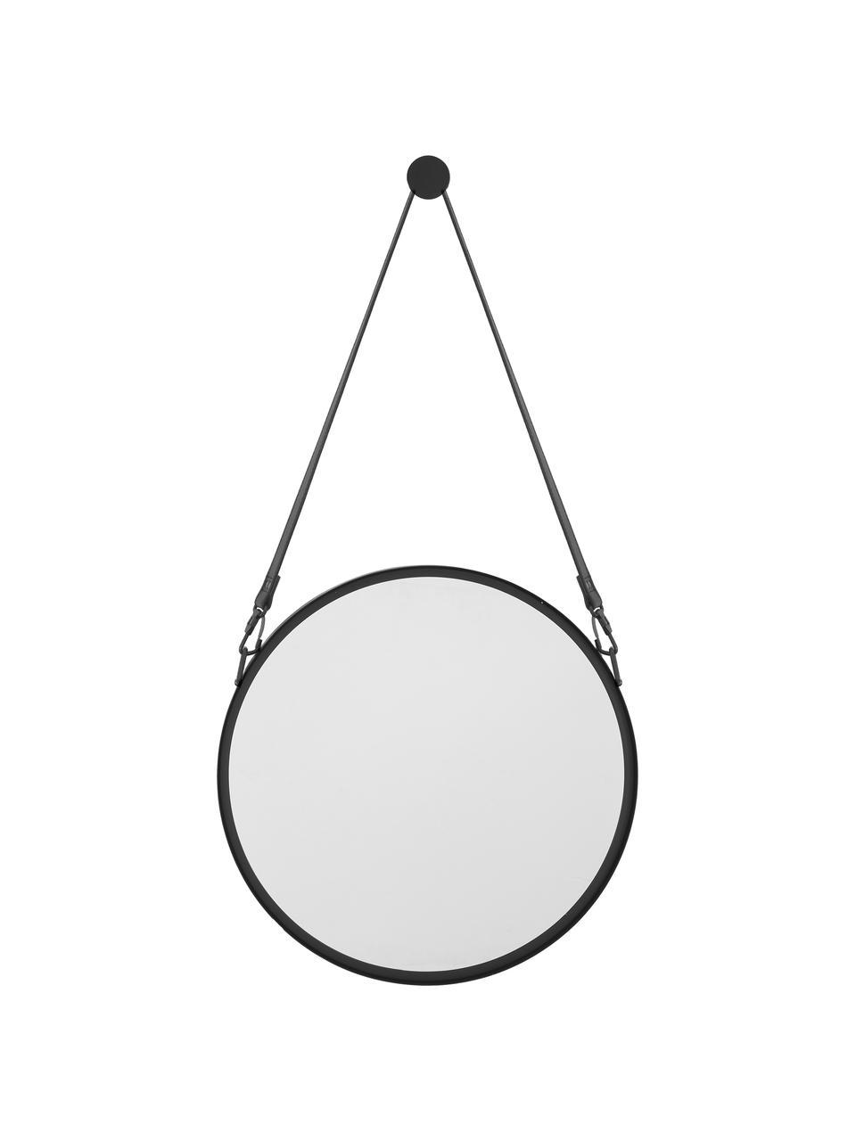 Ronde wandspiegel Liz met zwart leren ophangband, Zwart, Ø 60 cm