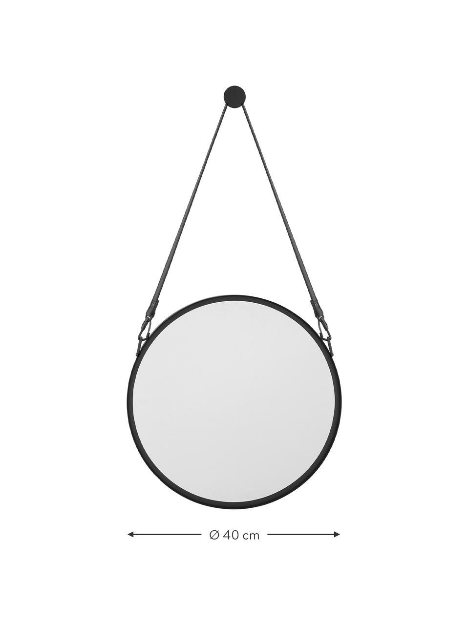 Specchio rotondo da parete con cinghia in pelle Liz, Superficie dello specchio: vetro a specchio, Retro: pannello di fibra a media, Nero, Ø 55 cm
